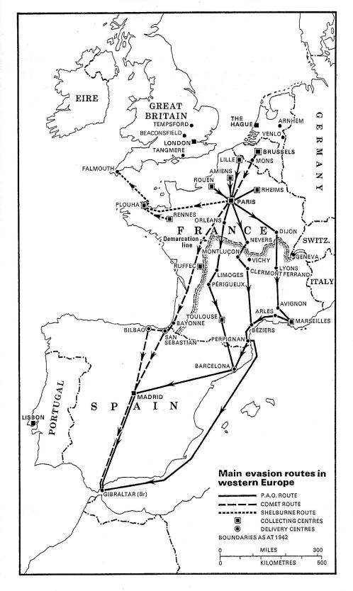 Main evasion routes map from Foot and Langley book, p. 63