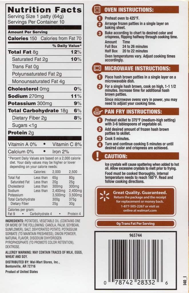 Walmart hash brown packaging