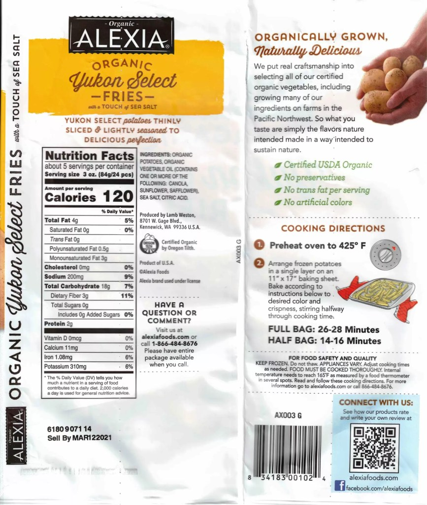 Alexia Organic Yukon Select Fries nutrition and ingredients