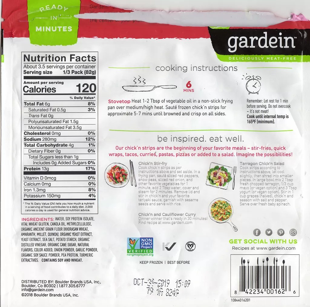 Gardein Meatless Chick'n Strips cooking instructions, ingredients