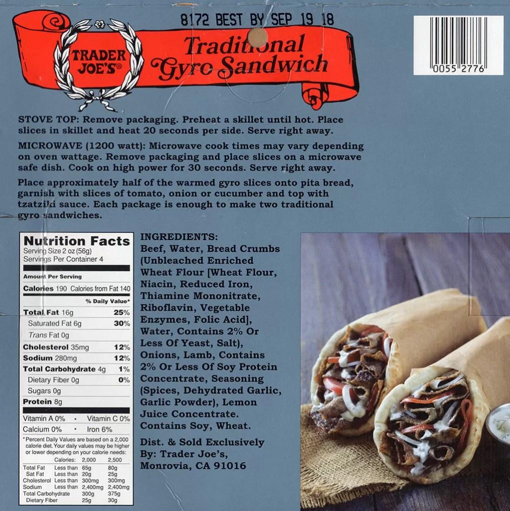Trader Joe's - Gyro Slices packaging back