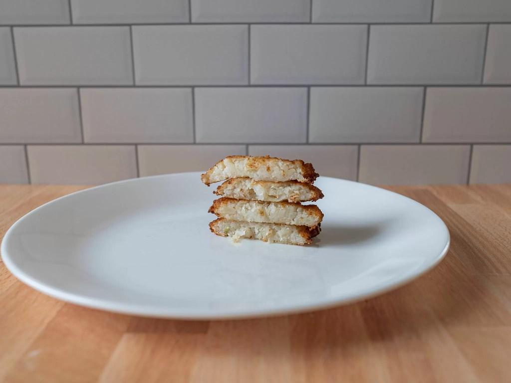Trader Joe's Latke Potato Pancakes side view air fried