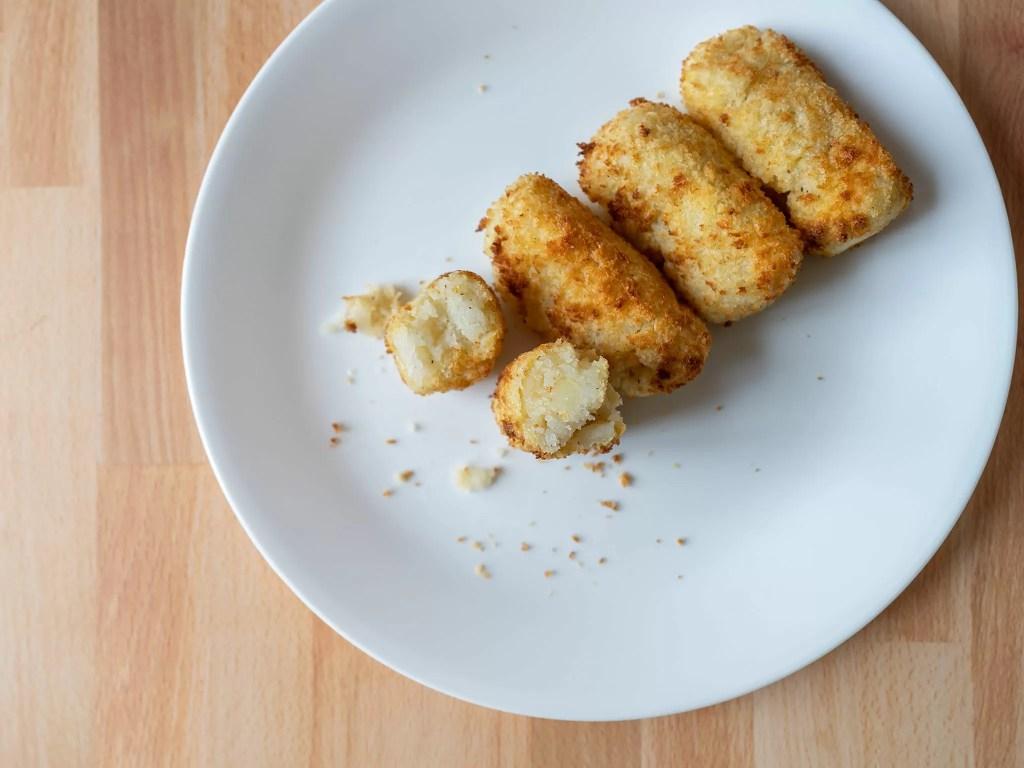 Air fried potato croquettes interior