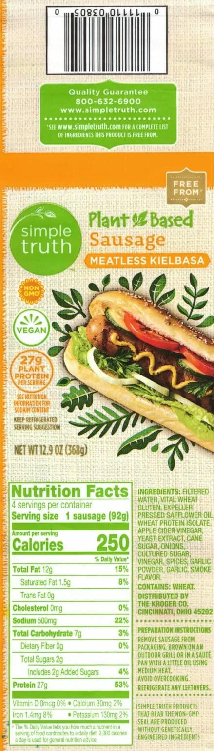 Simple Truth Meatless Kielbasa ingredients, nutrition