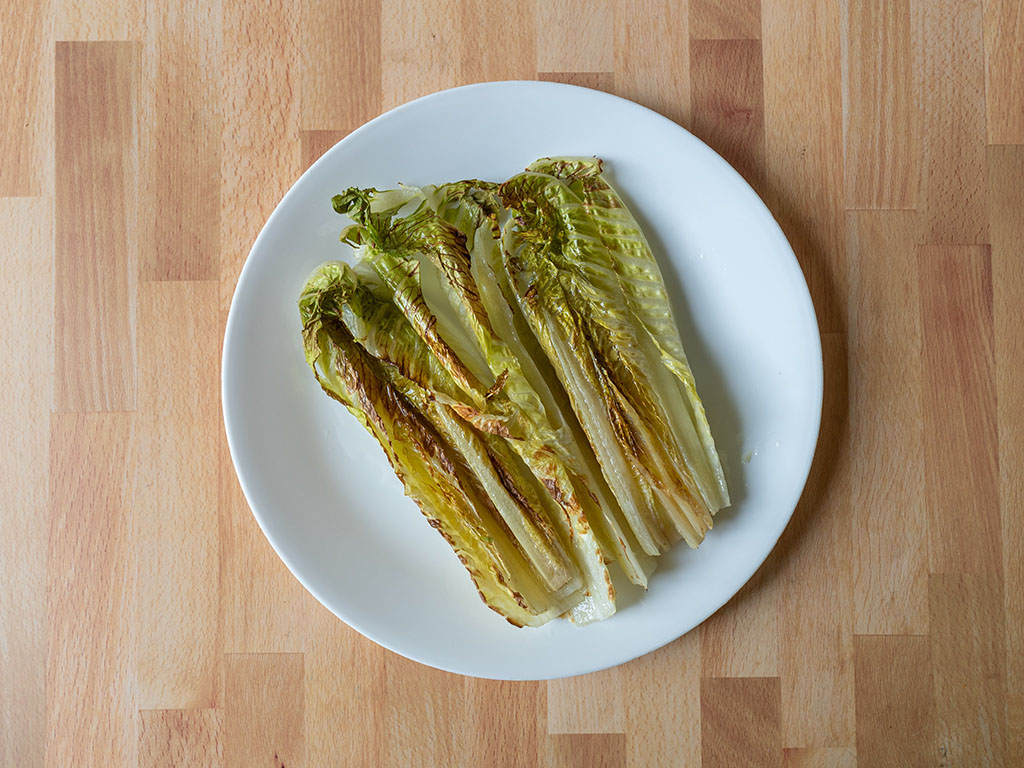 Grilled romaine cooked in the air fryer