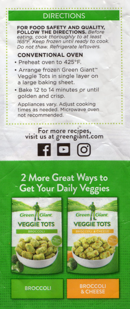 Green Giant cauliflower veggie tots cooking directions
