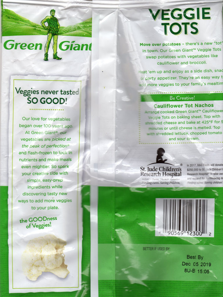 Green Giant cauliflower veggie tots package rear and cooking instructions