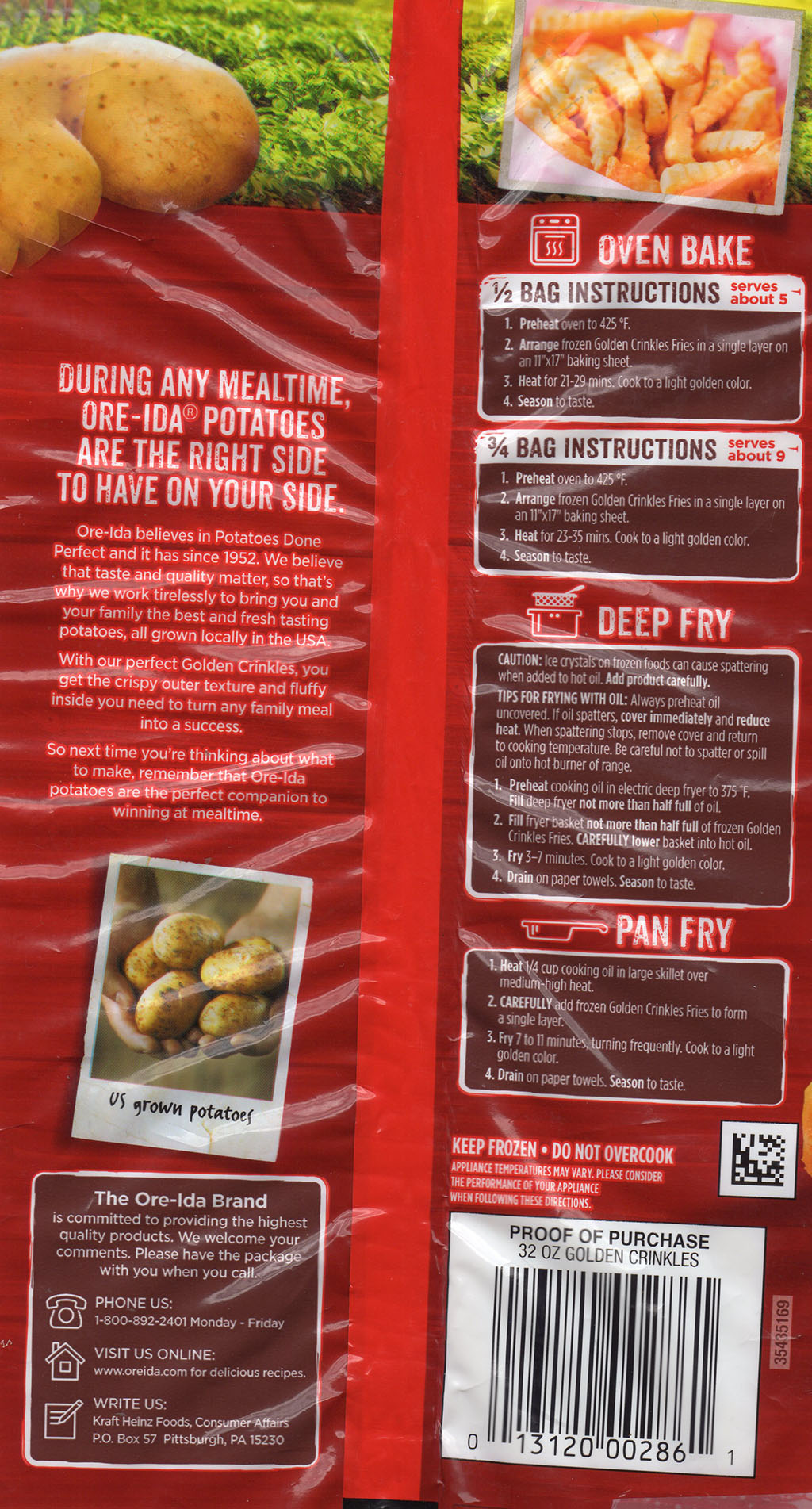 Ore-Ida Golden Crinkles French Fried Potatoes cooking instructions