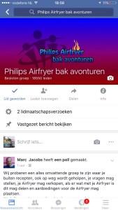 Zo ziet het scherm van de facebook groep Phiips Airfryer bak avonturen. Een zoekvenster ontbreekt.