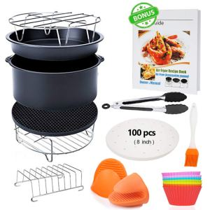 Set of 13 Gowise USA Compatible with Power Cozyna AirFryer Fit for Air Fryers 5.3QT Phillips Air Fryer Accessories XL 8 inch with Recipes Cookbook Nuwave 5.8QT