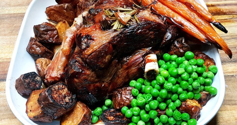 Lamb Roast Dinner with Air Fried Potatoes, Carrots and Sweet Potato