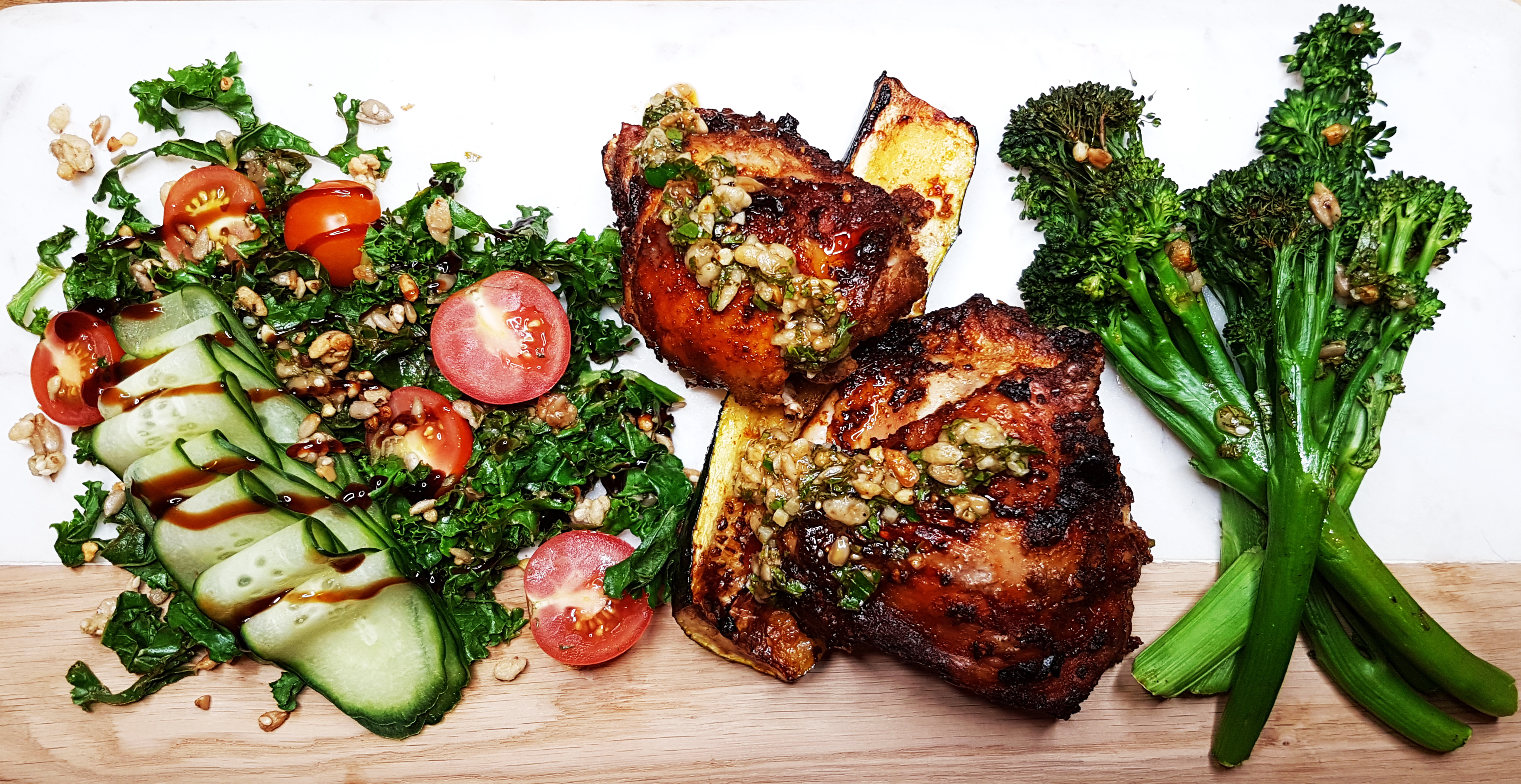 Portuguese Style Chicken Thighs with Zucchini, Broccolini & Kale Salad