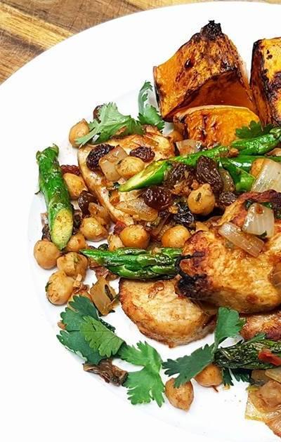 Cumin Chicken with Spiced Pumpkin & Chickpeas