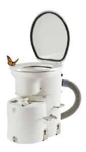 Airhead's toilet lets you remove the pee container without lifting up the top half of the unit.