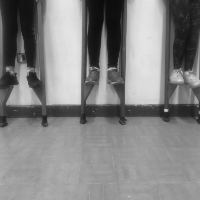 Three pairs of legs on stilts