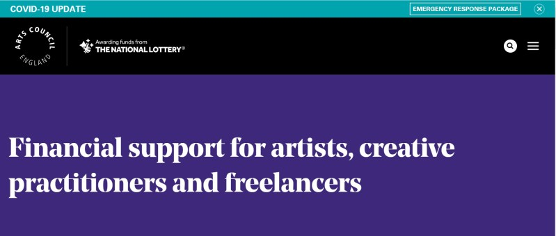 This is a block image with the following text: Financial support for artists, creative practitioners and freelancers.
