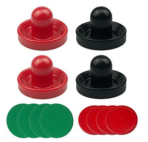 URATOT Air Hockey Pushers and Air Hockey Pucks Air Hockey Paddles 4 Pushers, 8 Red Pucks and 8 Green Pads Goal Handles Paddles Replacement Accessories for Game Tables