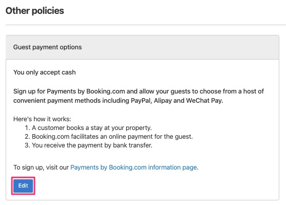 Click edit for guest payment options.