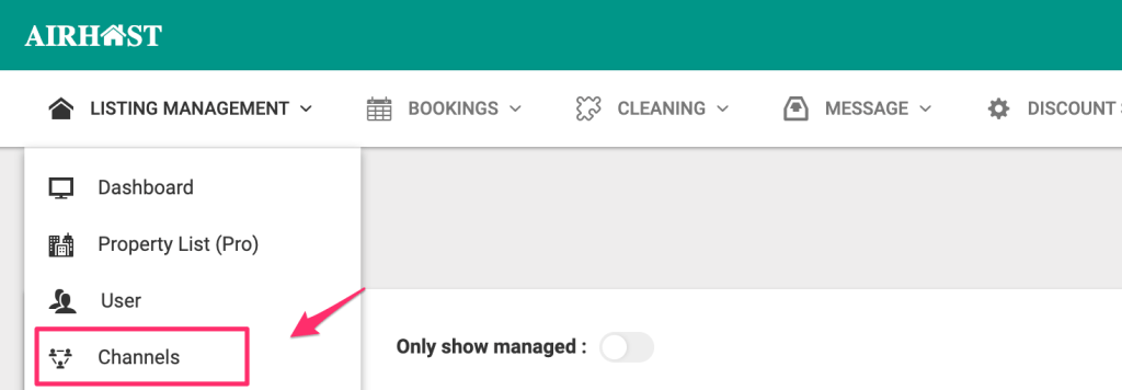Select Channels from Listing Management.