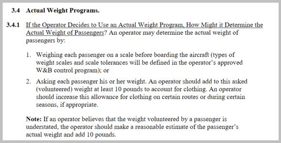 FAA W&B table