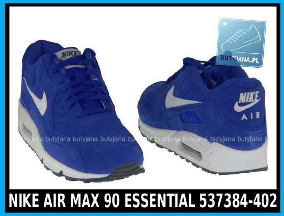 Niebieskie NIKE AIR MAX 90 ESSENTIAL 537384-402- HYPER BLUE - SAIL – SAIL – DARK GREY - cena 380 zł 4
