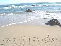 Gratitude written in sand on the beach.