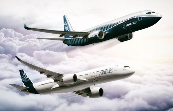 Boeing and Airbus jets
