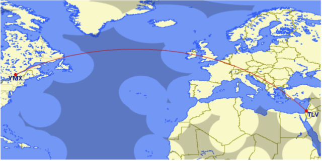 El Al's first ETOPS flight was from Tel Aviv to Montreal on March 26, 1984. Credit: Great Circle Mapper