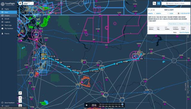 This was my proposed route from Seattle to Spokane for my checkride. Screenshot is from ForeFlight
