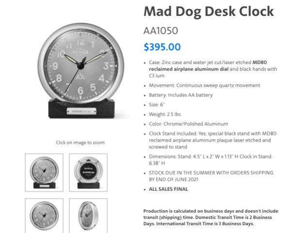 """own a piece of american md 80s with a mad dog desk clock Airplane GEEK Own a piece of American MD-80s with a """"Mad Dog Desk Clock"""""""