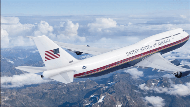 Trump livery on Air Force One