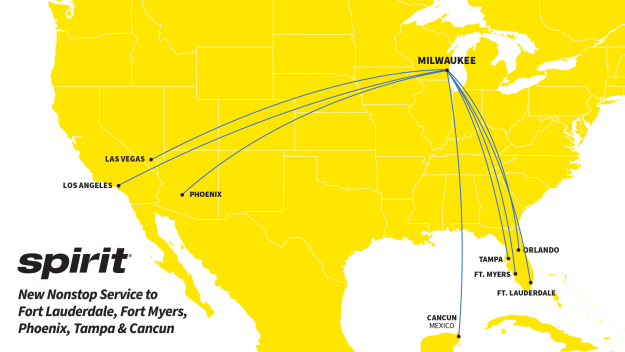 spirit airlines touches down in milwaukee announces new routes Airplane GEEK Spirit Airlines touches down in Milwaukee, announces new routes