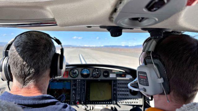 Touching down on runway 29 at KELN. Katie Bailey photo