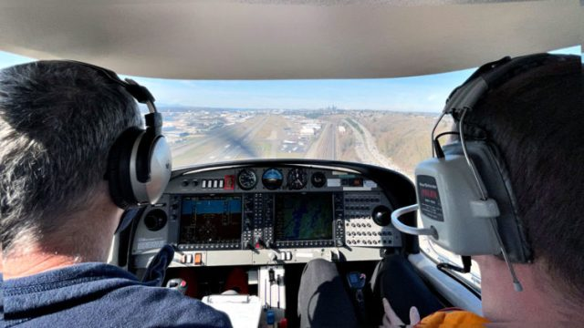 On short final for runway 32R back at KBFI. Katie Bailey photo