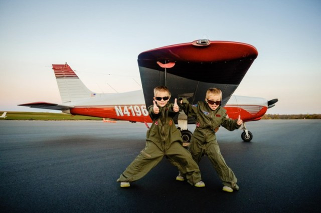 Twin Brothers Who Are Young Eagles Fly With Their Dad