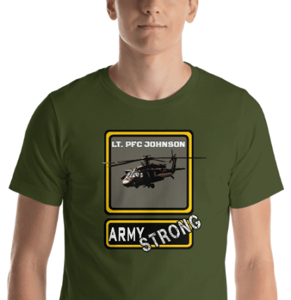 airplaneTees PERSONALIZE IT - Army Strong Tee, Army Mom, Dad, Rank, Class you name it. Short-Sleeve Unisex T-Shirt 24