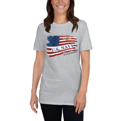 airplaneTees US Navy Aviation American Flag Tee... Short-Sleeve Unisex 3