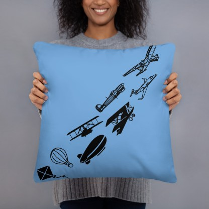 airplaneTees Evolution of flight Pillow - w/different images on each side. 4