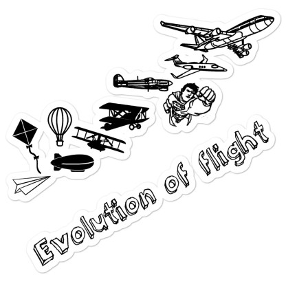 airplaneTees Evolution of flight stickers... Bubble-free 1