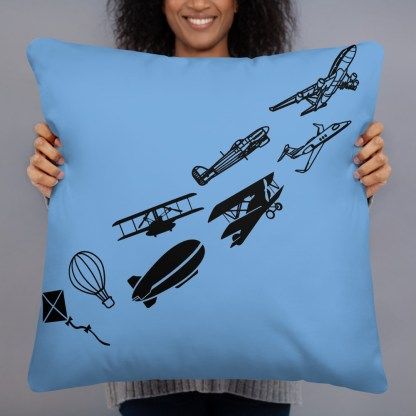 airplaneTees Evolution of flight Pillow - w/different images on each side. 6