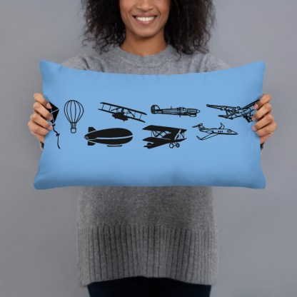 airplaneTees Evolution of flight Pillow - w/different images on each side. 2