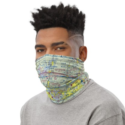 airplaneTees Dallas/Ft. Worth DFW VFR Sectional Face Mask/Face Covering/Neck Gaiter 3