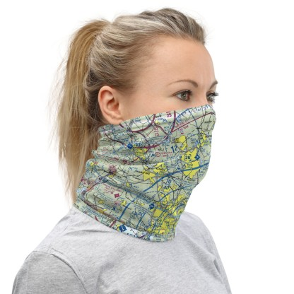 airplaneTees BOS - Boston VFR Sectional Face Mask/Face Covering/Neck Gaiter 1