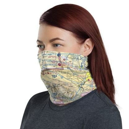 airplaneTees LAX - Los Angeles VFR Sectional Face Mask/Face Covering/Neck Gaiter 1