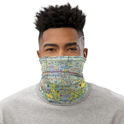 airplaneTees Dallas/Ft. Worth DFW VFR Sectional Face Mask/Face Covering/Neck Gaiter 1
