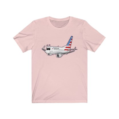 airplaneTees American Airlines Smiley 737 Tee... Unisex Jersey Short Sleeve 2