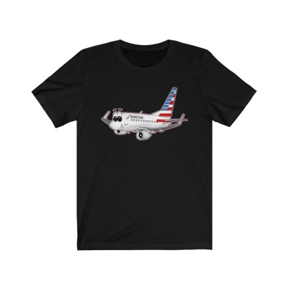 airplaneTees American Airlines Smiley 737 Tee... Unisex Jersey Short Sleeve 4