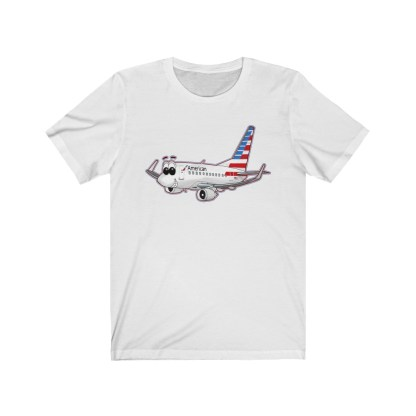 airplaneTees American Airlines Smiley 737 Tee... Unisex Jersey Short Sleeve 1
