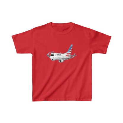airplaneTees American Airlines Smiley 737 Youth Tee... Kids Heavy Cotton™ 12
