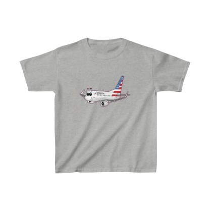 airplaneTees American Airlines Smiley 737 Youth Tee... Kids Heavy Cotton™ 4